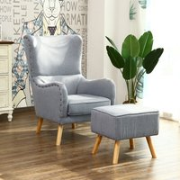 Grey Lounge Wing High Back Armchair And Footstool - LIVINGANDHOME