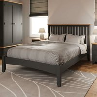 Grey Painted Slatted 46 Double Wooden Bed Frame Tapered Legs Bedroom Furniture