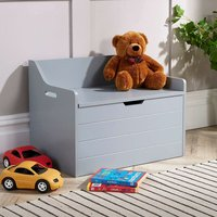 Emma - Grey Painted Wooden Storage Ottoman Bench Toy Cabinet Bedding Trunk Chest