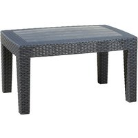 Black Rattan Effect Coffee and Drinks Side Table - Outdoor Garden Patio Furniture