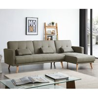 Elegant - Grey Sofa Bed 3 to 4 Seater L Shaped Adjustable 3 Inclining Positions Fabric Corner Sofabed Couch Linen With Cushions for Living Room