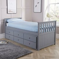 Grey Solid Pine Cabin Bed 3ft Single Pull Out Guest Bed With 3 Storage Drawers