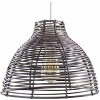 Grey Wicker Rattan Basket Style Ceiling Pendant Light Shade