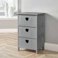 Grey Wooden 3 Drawer Chest Storage Unit Bedroom Organiser Bedside Love Hearts