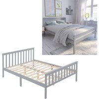 Livingandhome - Grey Wooden Bed Frame Pine Wood Bedstead, Double 4.6FT