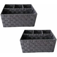 Woven Storage Box Basket Bin Container Tote Organiser Divider For Home Office[Grey,Set Of 2 (33.5 x 23 x 16.5 cm)]