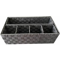 Woven Storage Box Basket Bin Container Tote Organiser Divider For Home Office[Grey,47 x 24 x 15 cm]