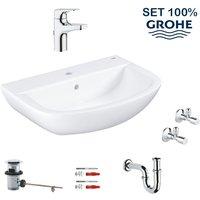 Bau Ceramic hanging washbasin set 60 cm + single lever mixer + siphon + angle tap (39644000) - Grohe