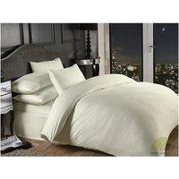 Grosvenor Satin Stripe Cotton Rich 1000 Thread Count Duvet Cover Set, Cream, Super King - S.GREEN