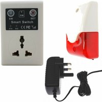 GSM Wall Socket Switch and Siren and Flashing Strobe Light - No SIM Card Thank You [010-1620]