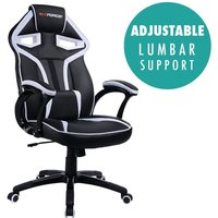 More4homes - GTFORCE ROADSTER I WHITE BLACK SPORT RACING CAR OFFICE CHAIR LEATHER GAMING DESK