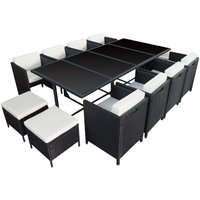 HABELOCK - Rattan Dining Garden Set Recessed - 12 Seats - Black Beige - Black Beige
