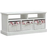 Vidaxl - Hall Bench with 3 Baskets White Wood