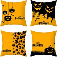 Halloween Decorations Throw Pillow Covers 18 X 18 Inch Set of 4 Halloween Pumpkin Cushion Covers Linen Fabric Pillowcases for Home Sofa Bedroom Car