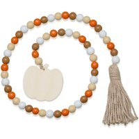 Halloween Wooden Bead Wreath with Tassels, Decorated with Pumpkins, Wood Bead Garland Wreath for Harvest and Thanksgiving Decorations, Fireplace