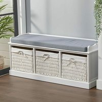 Hallway Bench 3 Baskets Storage Bench With Padded Seat, White