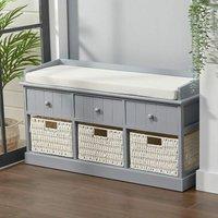 Hallway Bench Shoe Rack Storage Cabinet Baskets Drawers Organiser Cushion Seat, Grey