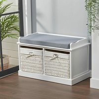 Hallway Bench Shoe Rack Storage Cabinet Baskets Organiser Cushion Seat, White