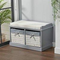 Hallway Bench Shoe Rack Storage Cabinet Baskets Organiser Cushion Seat, Grey