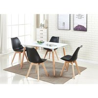 Halo Dining Table and Lorenzo Dining chairs Set (WHITE and BLACK)