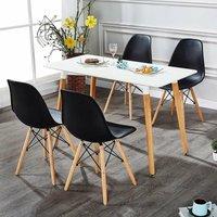 Halo Dining Table Set   4 Moda Eiffel Chairs   Retro Style   Dining Chairs, Kitchen Chairs,   White Table and Black Chairs