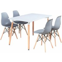 Halo Dining Table Set   4 Moda Eiffel Chairs   Retro Style   Dining Chairs, Kitchen Chairs,   White Table and Grey Chairs