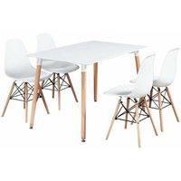 Halo Dining Table Set   4 Moda Eiffel Chairs   Retro Style   Dining Chairs, Kitchen Chairs,   White Table and White Chairs