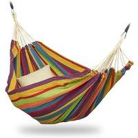 Relaxdays - Hamac 300kg, 2 Personnes, Jardin Extérieur, Suspendu, Intérieur, Coton, Transportable, 150x272 cm, multicolore