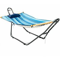 Costway - Hammock Sun Lounger Bed Stand Outdoor Patio Swing Steel Frame Hanging Hooks