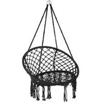 Hammock Swing Chair Hanging Seat Outdoor Garden Black - AUGIENB