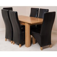 Hampton Solid Oak 120-160cm Extending Dining Table with 6 Lo