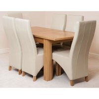 Hampton Solid Oak 120-160cm Extending Dining Table with 6