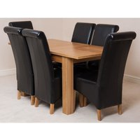 Hampton Solid Oak 120-160cm Extending Dining Table with 6 Mo