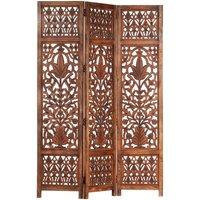 Zqyrlar - Hand Carved 3-Panel Room Divider Brown 120x165 cm Solid Mango Wood - Brown