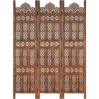 Betterlifegb - Hand carved 3-Panel Room Divider Brown 120x165 cm Solid Mango Wood17083-Serial number