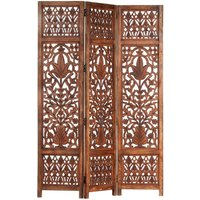 Betterlifegb - Hand Carved 3-Panel Room Divider Brown 120x165 cm Solid Mango Wood17093-Serial number