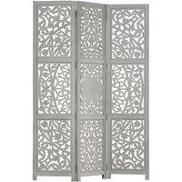 Zqyrlar - Hand carved 3-Panel Room Divider Grey 120x165 cm Solid Mango Wood - Grey