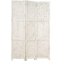 Hand carved 3-Panel Room Divider White 120x165 cm Solid Mango Wood