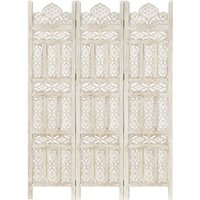 Hand carved 3-Panel Room Divider White 120x165 cm Solid Mango Wood - White