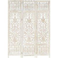 Zqyrlar - Hand carved 3-Panel Room Divider White 120x165 cm Solid Mango Wood - White