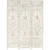 Betterlifegb - Hand carved 3-Panel Room Divider White 120x165 cm Solid Mango Wood17089-Serial number