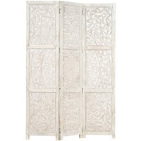 Hand carved 3-Panel Room Divider White 120x165 cm Solid Mango Wood17095-Serial number