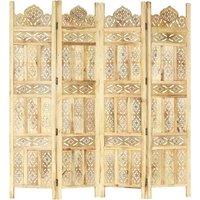 Zqyrlar - Hand carved 4-Panel Room Divider 160x165 cm Solid Mango Wood - Brown