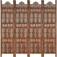 Zqyrlar - Hand carved 4-Panel Room Divider Brown 160x165 cm Solid Mango Wood - Brown