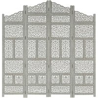 Zqyrlar - Hand carved 4-Panel Room Divider Grey 160x165 cm Solid Mango Wood - Grey