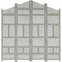 Betterlifegb - Hand carved 4-Panel Room Divider Grey 160x165 cm Solid Mango Wood17087-Serial number