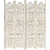 Zqyrlar - Hand carved 4-Panel Room Divider White 160x165 cm Solid Mango Wood - White