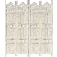 Betterlifegb - Hand carved 4-Panel Room Divider White 160x165 cm Solid Mango Wood17078-Serial number
