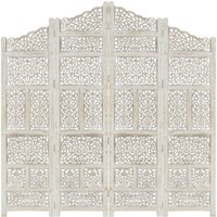 Betterlifegb - Hand carved 4-Panel Room Divider White 160x165 cm Solid Mango Wood17086-Serial number