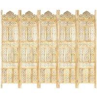 Hand carved 5-Panel Room Divider 200x165 cm Solid Mango Wood - Brown - Vidaxl
